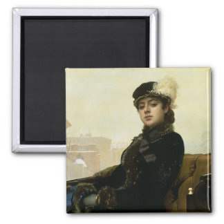 Portrait of an Unknown Woman, 1883 Square Magnet