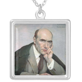 Portrait of Andre Gide  1924 Silver Plated Necklace