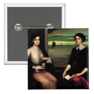 Portrait of Angeles and Fuensanta 15 Cm Square Badge
