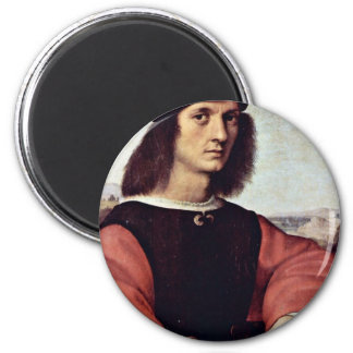 Portrait Of Angelo Doni By Raphael (Best Quality) 6 Cm Round Magnet