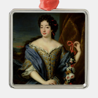 Portrait of Anne de Baviere Silver-Colored Square Decoration