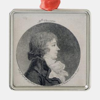 Portrait of Anne-Josephe Trewagne Silver-Colored Square Decoration