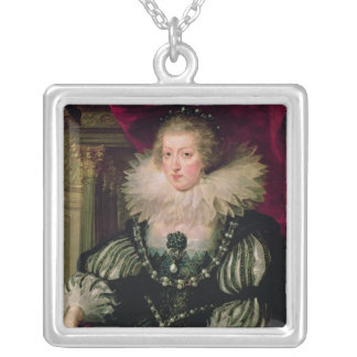 Portrait of Anne of Austria  Infanta of Spain Silver Plated Necklace