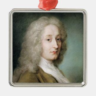 Portrait of Antoine Watteau Silver-Colored Square Decoration
