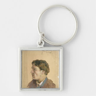 Portrait of Anton Chekhov Silver-Colored Square Key Ring