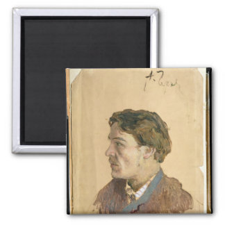 Portrait of Anton Chekhov Square Magnet