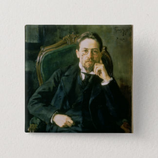 Portrait of Anton Pavlovich Chekhov, 1898 15 Cm Square Badge