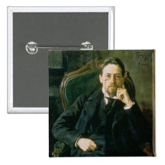 Portrait of Anton Pavlovich Chekhov, 1898 15 Cm Square Badge