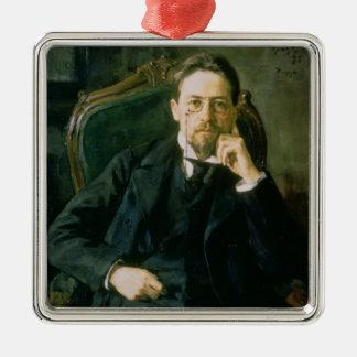 Portrait of Anton Pavlovich Chekhov, 1898 Square Metal Christmas Ornament