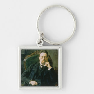Portrait of Anton Pavlovich Chekhov, 1898 Silver-Colored Square Key Ring