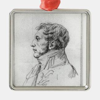 Portrait of Armand Augustin Louis Silver-Colored Square Decoration