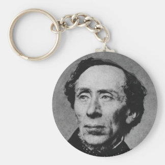 Portrait of Author Hans Christian Andersen Basic Round Button Key Ring