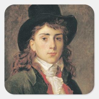 Portrait of Baron Antoine Jean Gros  Aged 20 Square Sticker