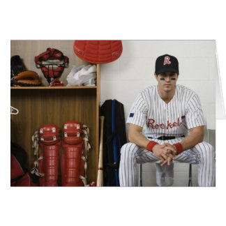 Portrait of baseball player sitting in locker greeting card
