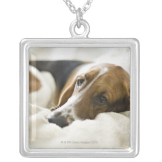 Portrait of Bassett, Washington 2 Silver Plated Necklace