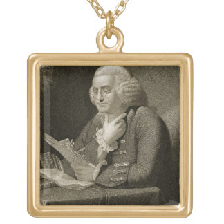 Portrait of Benjamin Franklin, engraved by Thomas Gold Plated Necklace