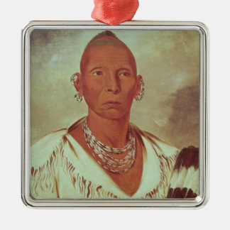 Portrait of Black Hawk, Indian Chief Silver-Colored Square Decoration