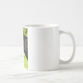 Portrait of black horse coffee mug
