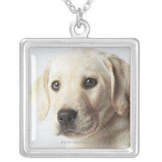 Portrait of blond Labrador Retriever Puppy Silver Plated Necklace