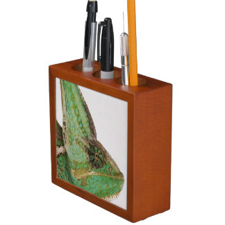 Portrait of boldly colored Yemen chameleon Desk Organiser