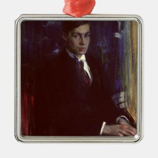 Portrait of Boris Pasternak Silver-Colored Square Decoration