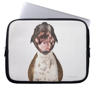 portrait of boxer dog yawning laptop sleeve