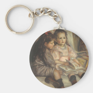 Portrait of Caillebotte Children by Pierre Renoir Basic Round Button Key Ring
