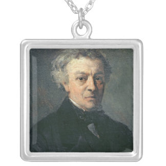 Portrait of Camille Corot  c.1863 Silver Plated Necklace