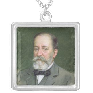 Portrait of Camille Saint-Saens  1903 Silver Plated Necklace