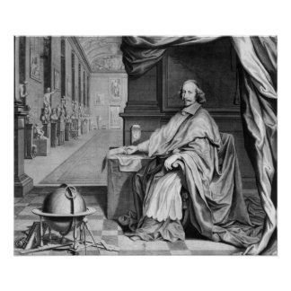 Portrait of Cardinal Mazarin  in his Palace Print