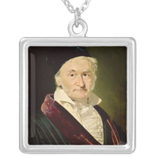 Portrait of Carl Friedrich Gauss, 1840 Silver Plated Necklace