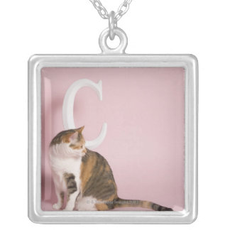 Portrait of cat silver plated necklace