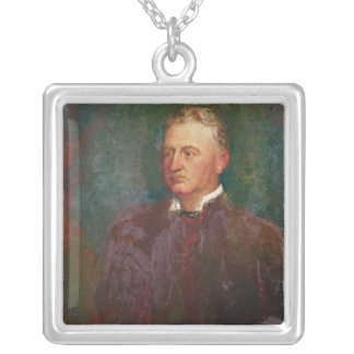 Portrait of Cecil John Rhodes  1898 Silver Plated Necklace