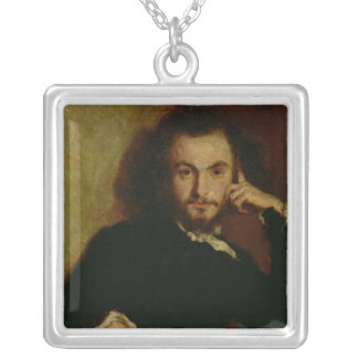 Portrait of Charles Baudelaire  1844 Silver Plated Necklace