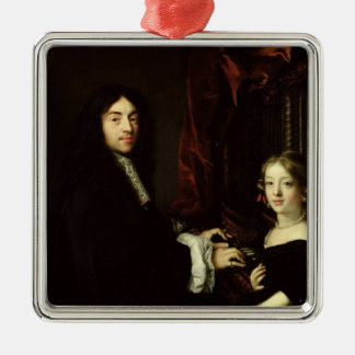 Portrait of Charles Couperin  and the Daughter Silver-Colored Square Decoration