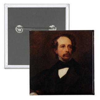 Portrait of Charles Dickens  1855 15 Cm Square Badge