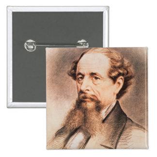 Portrait of Charles Dickens, 1869 15 Cm Square Badge