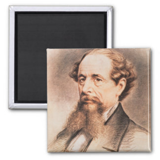Portrait of Charles Dickens, 1869 Square Magnet