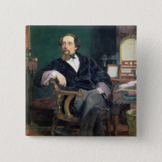 Portrait of Charles Dickens (oil on canvas) 15 Cm Square Badge