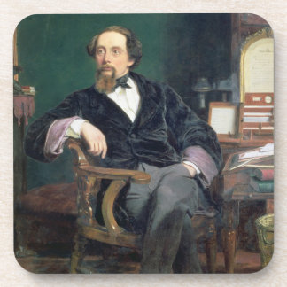 Portrait of Charles Dickens (oil on canvas) Beverage Coasters