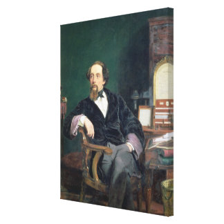 Portrait of Charles Dickens (oil on canvas) Stretched Canvas Print