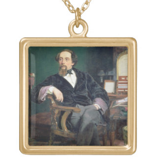 Portrait of Charles Dickens (oil on canvas) Gold Plated Necklace