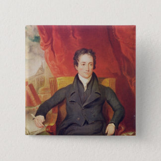 Portrait of Charles Lamb  1826 15 Cm Square Badge