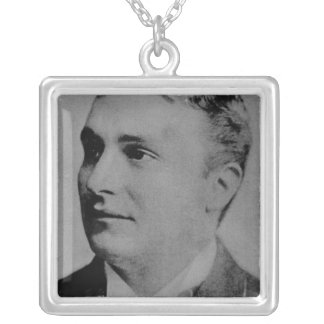 Portrait of Charles Spencer Chaplin, Sr Silver Plated Necklace