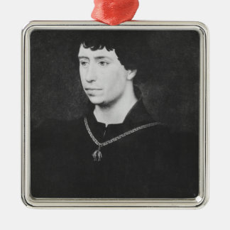 Portrait of Charles the Bold Silver-Colored Square Decoration