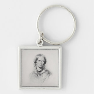 Portrait of Charlotte Bronte, engraved by Walker a Silver-Colored Square Key Ring