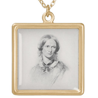 Portrait of Charlotte Bronte, engraved by Walker a Square Pendant Necklace