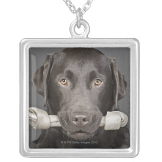 Portrait of chocolate labrador silver plated necklace