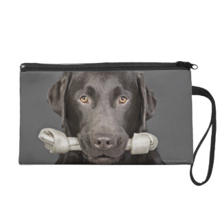 Portrait of chocolate labrador wristlet purses
