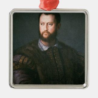 Portrait of Cosimo I de'Medici, 16th century Silver-Colored Square Decoration